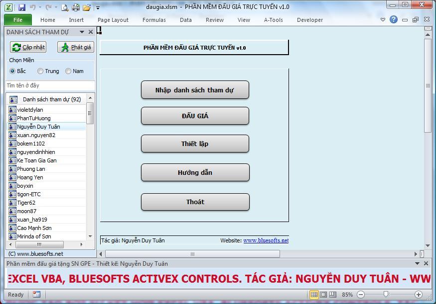 Phần mềm đấu giá trực tuyến trong Excel VBA (Open Source)
